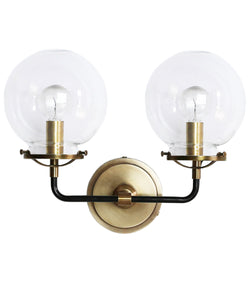 French Bistro Double Sconce with Clear Glass, Antique Brass and Bronze