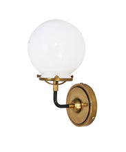 French Bistro Single Sconce with White Glass, Antique Brass and Bronze