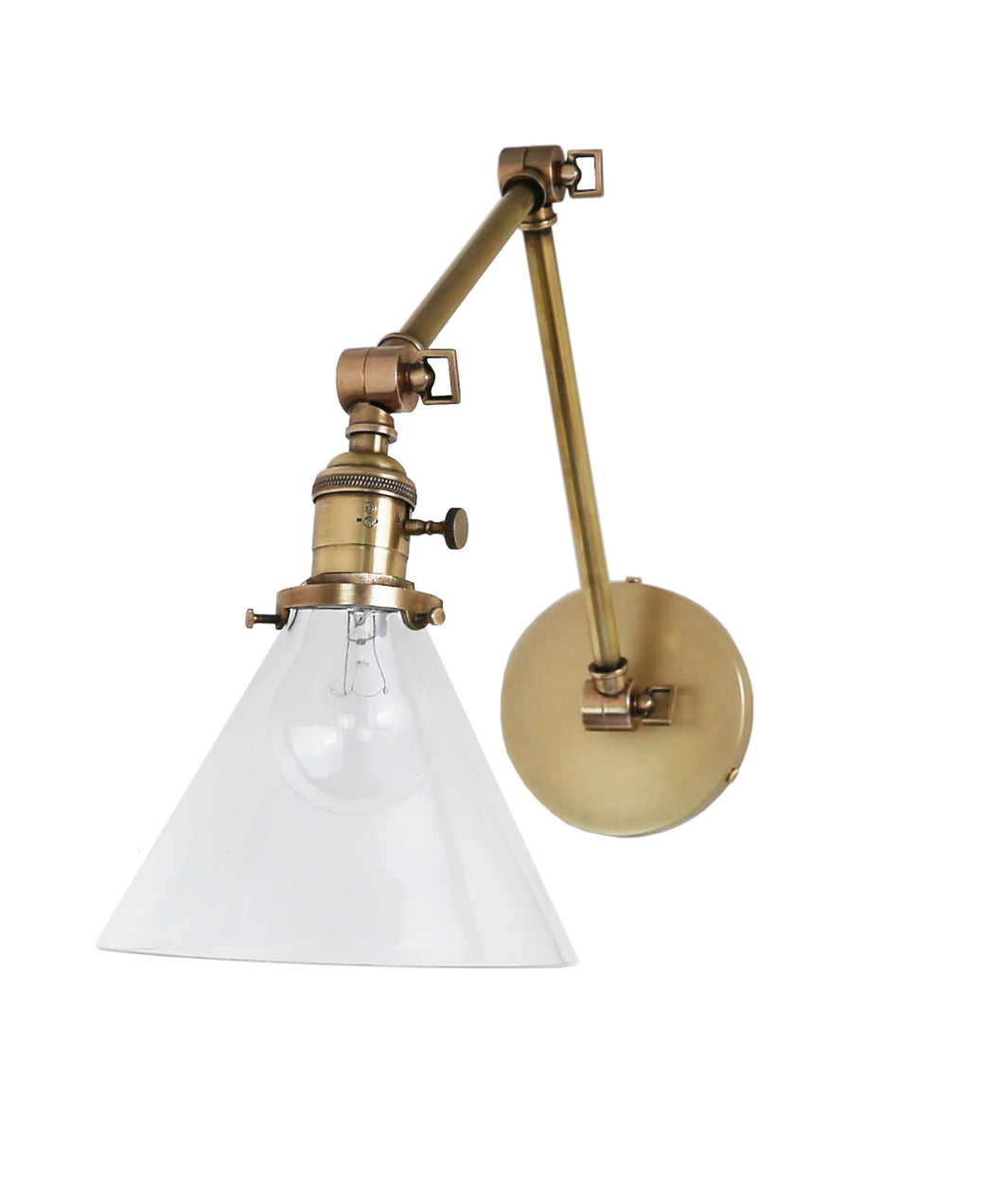 Jamestown Double Arm Wall Sconce with Tapered Clear Glass Shade, Antique Brass