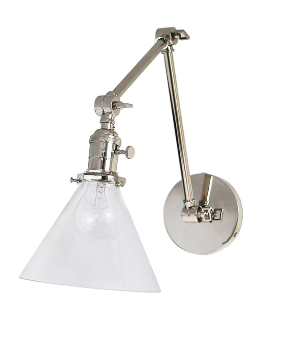 Jamestown Double Arm Wall Sconce with Tapered Clear Glass Shade, Polished Nickel