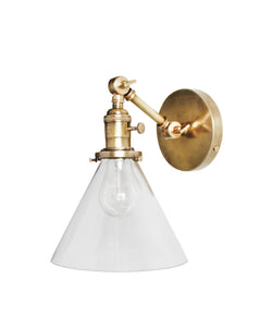 Jamestown Single Short Arm Wall Sconce with Tapered Clear Glass Shade, Antique Brass