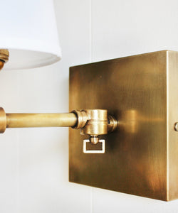 Hampton Pivoting Wall Sconce with Linen Shade, Antique Brass