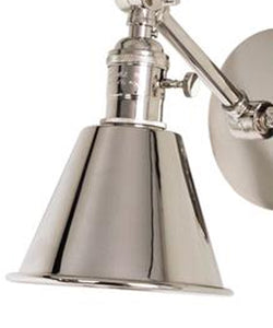 Jamestown Single Short Arm Wall Sconce, Polished Nickel