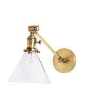 Jamestown Single Long Arm Wall Sconce with Tapered Clear Glass Shade, Antique Brass