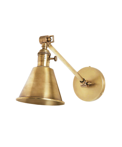 Jamestown Single Long Arm Wall Sconce, Antique Brass