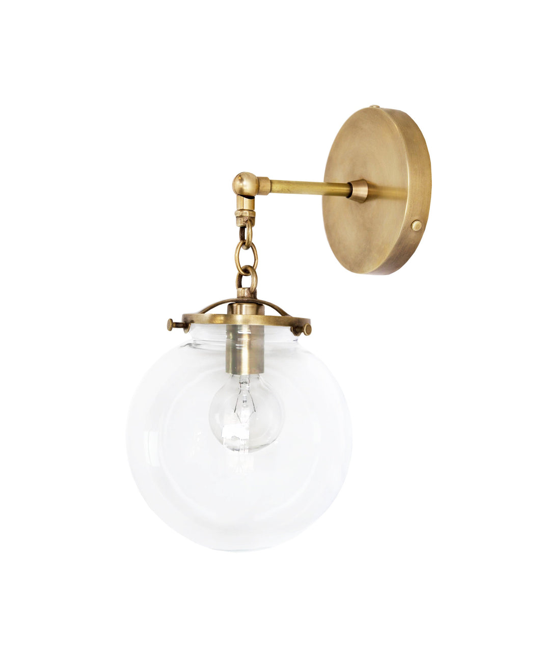 Beaumont Wall Sconce, Brass and Clear Glass Globe