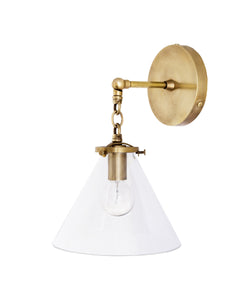 Beaumont Wall Sconce, Brass and Clear Glass Tapered Shade