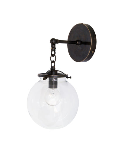 Beaumont Wall Sconce, Bronze and Clear Glass Globe