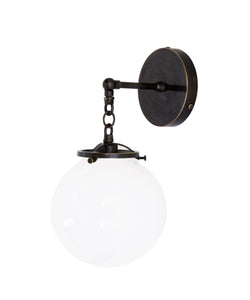 Beaumont Wall Sconce, Bronze and White Glass Globe