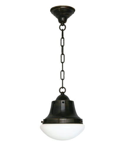 Bedford Pendant with Curved Milk Glass Shade, Oil-Rubbed Bronze