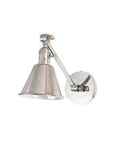 Jamestown Single Long Arm Wall Sconce, Polished Nickel