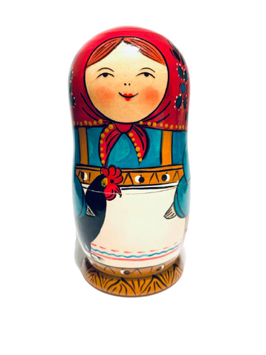 Village Lady With Rooster Nesting Doll ( 5 Pcs)