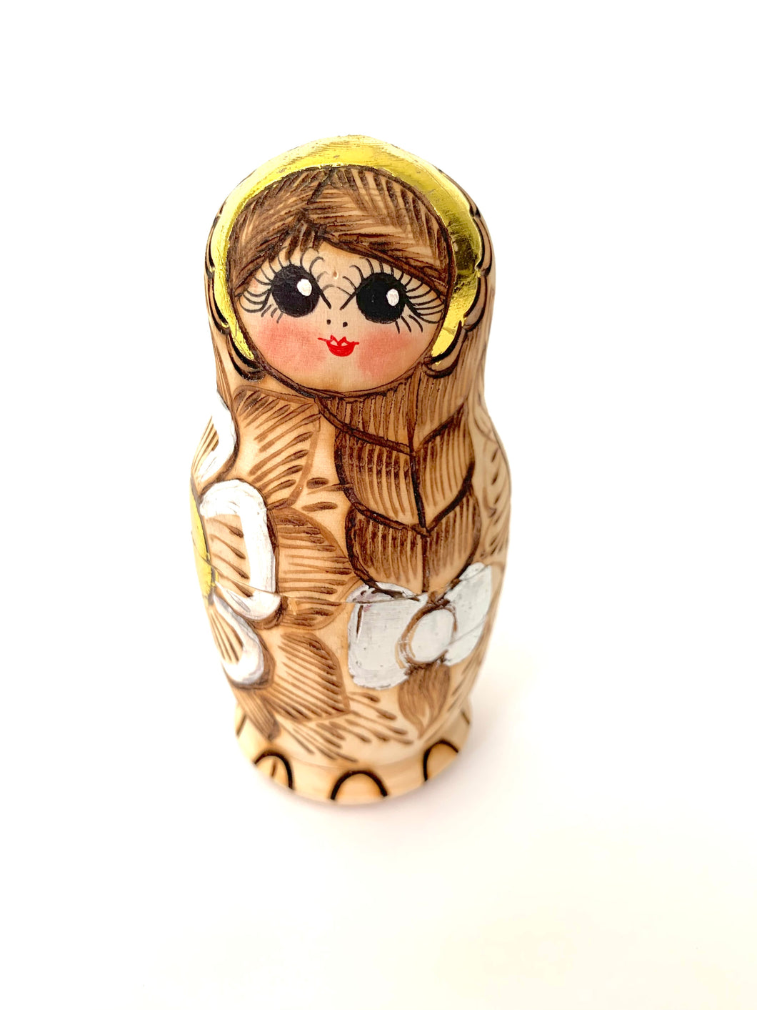 Wood Burned Matryoshka, Katarina, 5 pcs