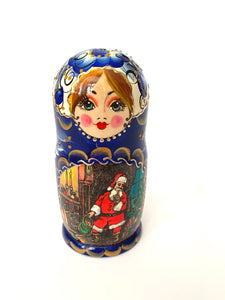 Large Christmas Themed Matryoshka, 5 Pcs