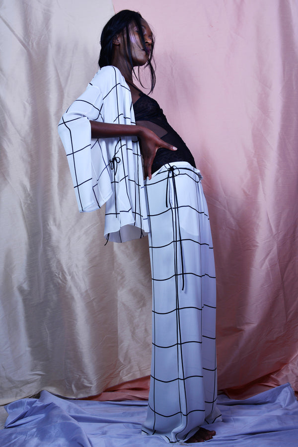 Aimee Studio // Tie Night Trousers in Printed Georgette - Studio asanawa