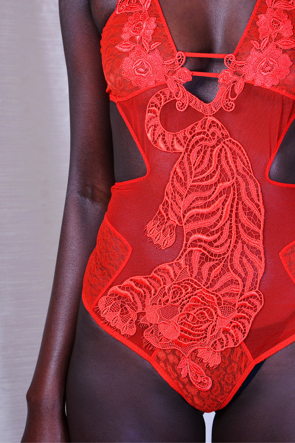 Aimee Studio // Cut Out Bodice in Red Tulle - Studio asanawa