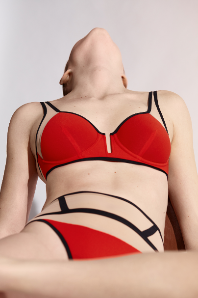 Opaak // Laura High Waisted Sheer Thong Red - Studio asanawa