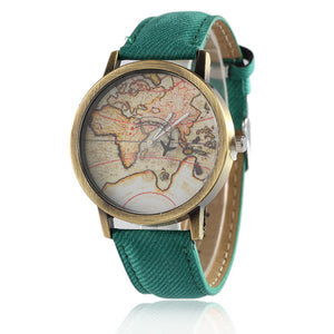 Vintage World Map Denim Band Watch - Wondearthful