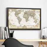 Large Vintage World Map - Wondearthful