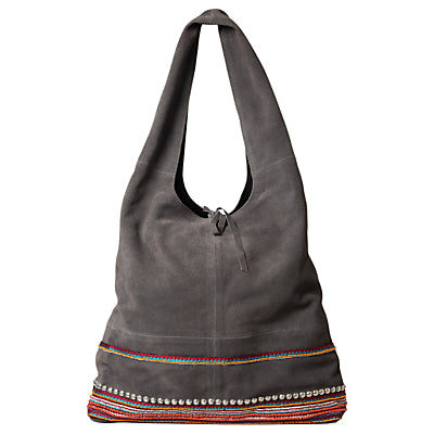 East Leather Patchwork Jute Bag- Greystone