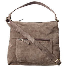 Fat Face Sally Suede Shoulder Bag- Charcoal