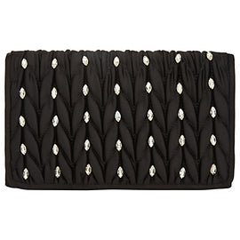 Adrianna Papell Quilted Flapover Rhinestone Embellished Clutch Bag- Black/Silver
