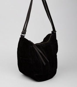 Black Suede Hobo Backpack New Look