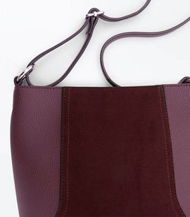 Burgundy Suedette Panel Bucket Bag New Look