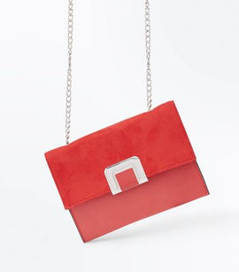 Red Foldover Chain Shoulder Bag New Look
