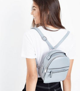 Pale Blue Double Zip Front Micro Backpack New Look