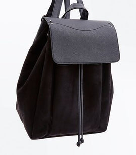 Black Suedette Front Pocket Backpack New Look
