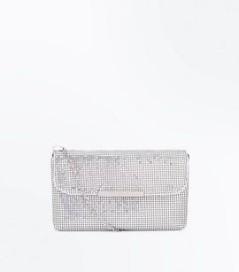 Silver Chainmail Chain Shoulder Bag New Look
