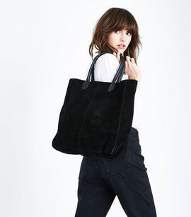 Black Suede Tote Bag New Look