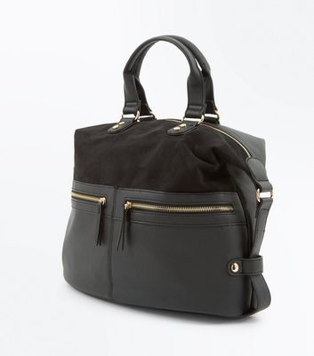 Black Slouchy Bowler Bag New Look