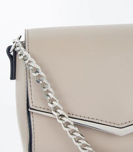 Pale Grey V Front Micro Shoulder Bag New Look