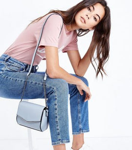 Pale Blue V Front Micro Shoulder Bag New Look