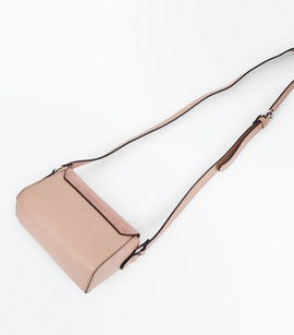 Nude Suedette Panel Envelope Cross Body Bag New Look