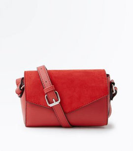 Red Suedette Panel Envelope Cross Body Bag New Look