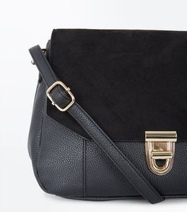 Black Foldover Suedette Front Cross Body Bag New Look