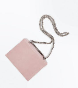 Pink Floral Embroidered Chain Shoulder Bag New Look