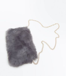 Grey Faux Fur Shoulder Bag New Look