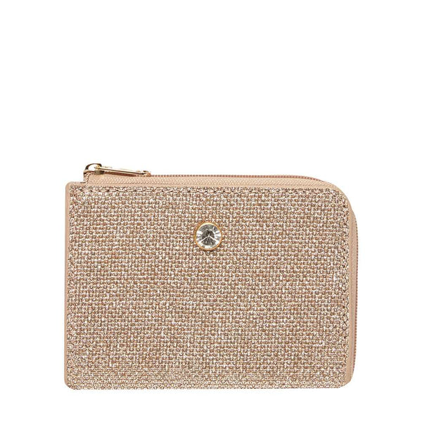Womens Gold Asymmetric Mini Purse- Gold