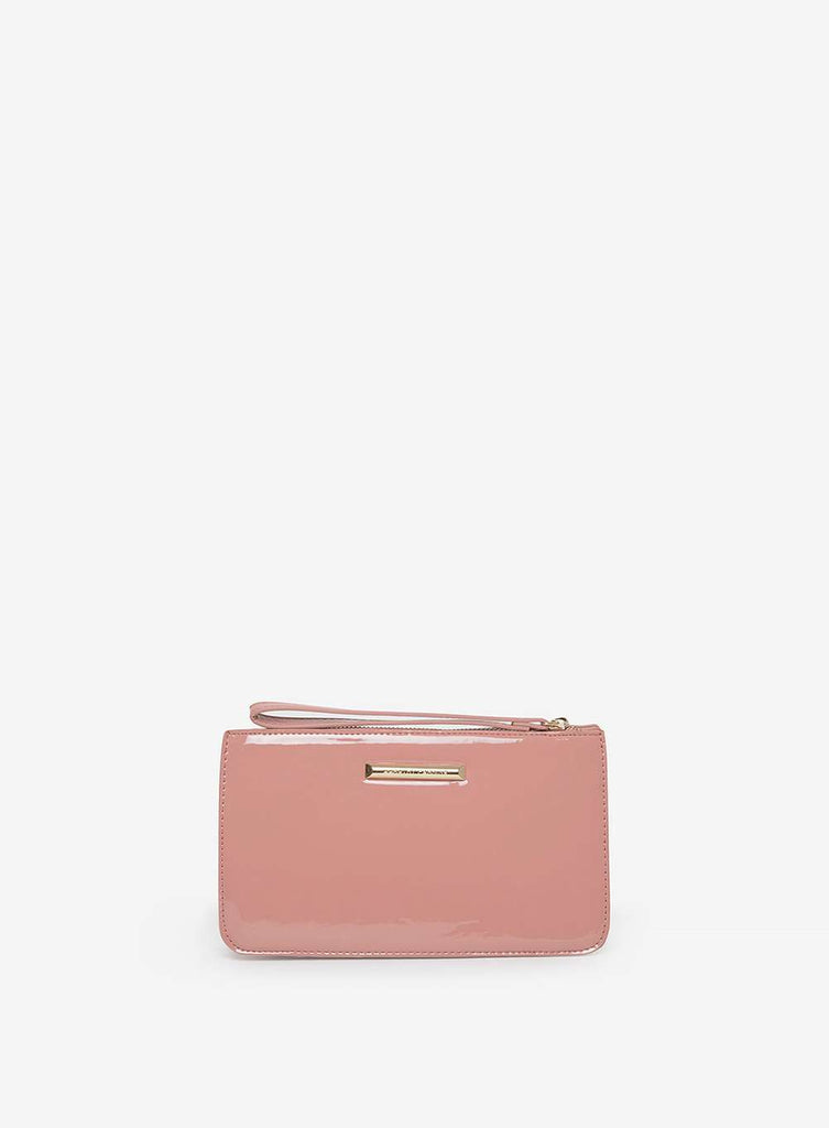 Womens Rose Patent Zip Top Wristlet Bag- Pink