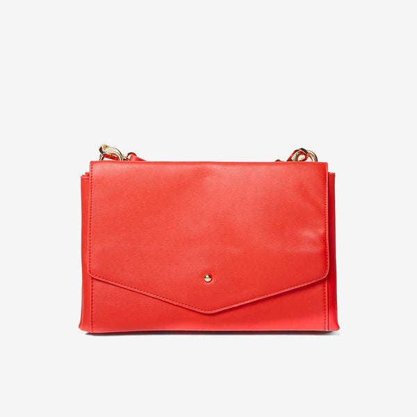 Womens Red Double Pouch Cross Body Bag- Red
