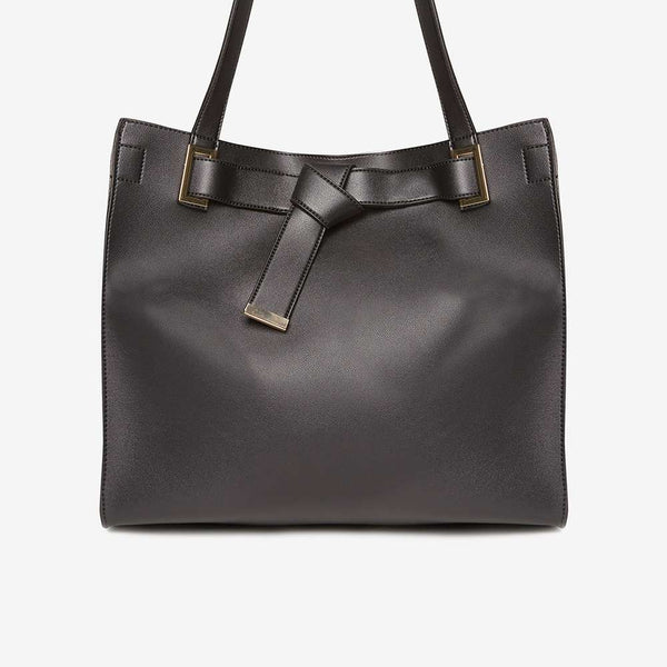 Womens Black Knot Body Shopper Bag- Black
