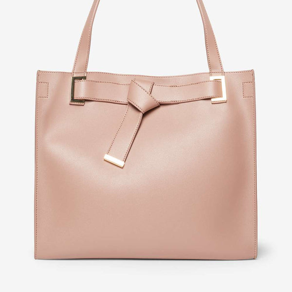 Womens Rose Knot Boxy Shopper Bag- Pink