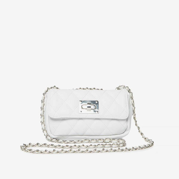 Womens White Chain Shoulder Bag- White
