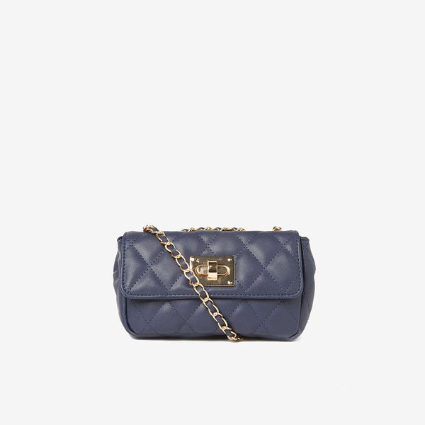 Womens Navy Chain Shoulder Bag- Blue
