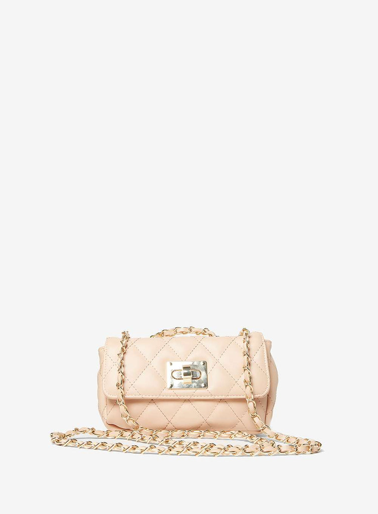 Womens Nude Chain Shoulder Bag- White