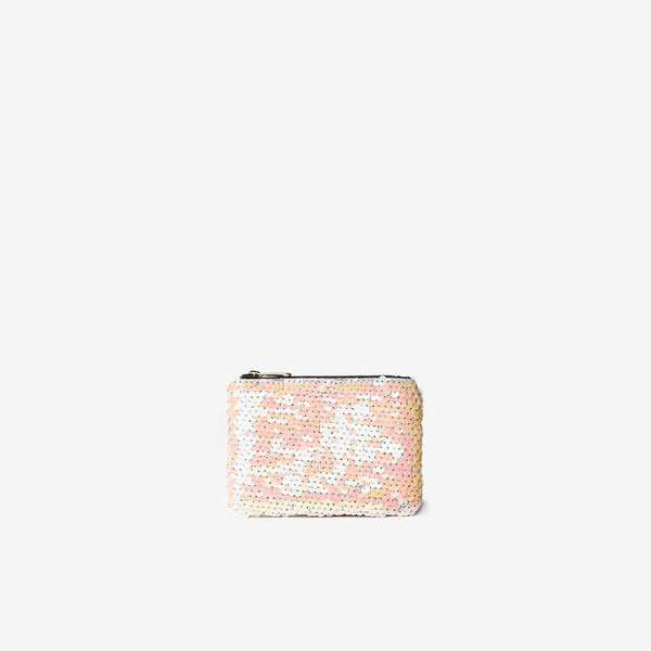 Womens Pink Sequin Embellished Zip Top Purse- Pink